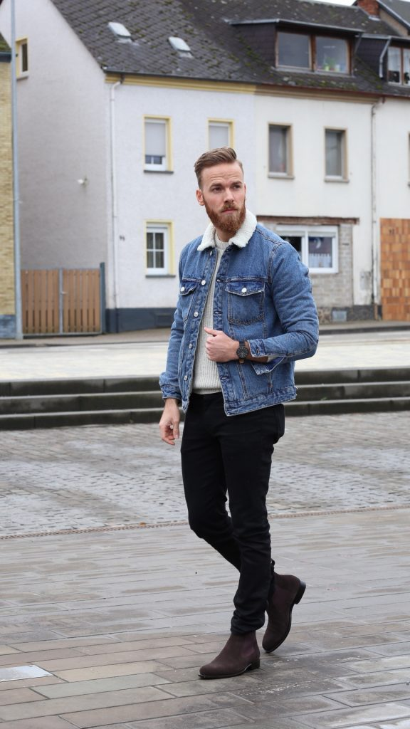 OUTFIT - Jeansjacke und Chelsea Boots Winteroutfit Blogger Malemodel bernd hower blog instagram blogger influencer store