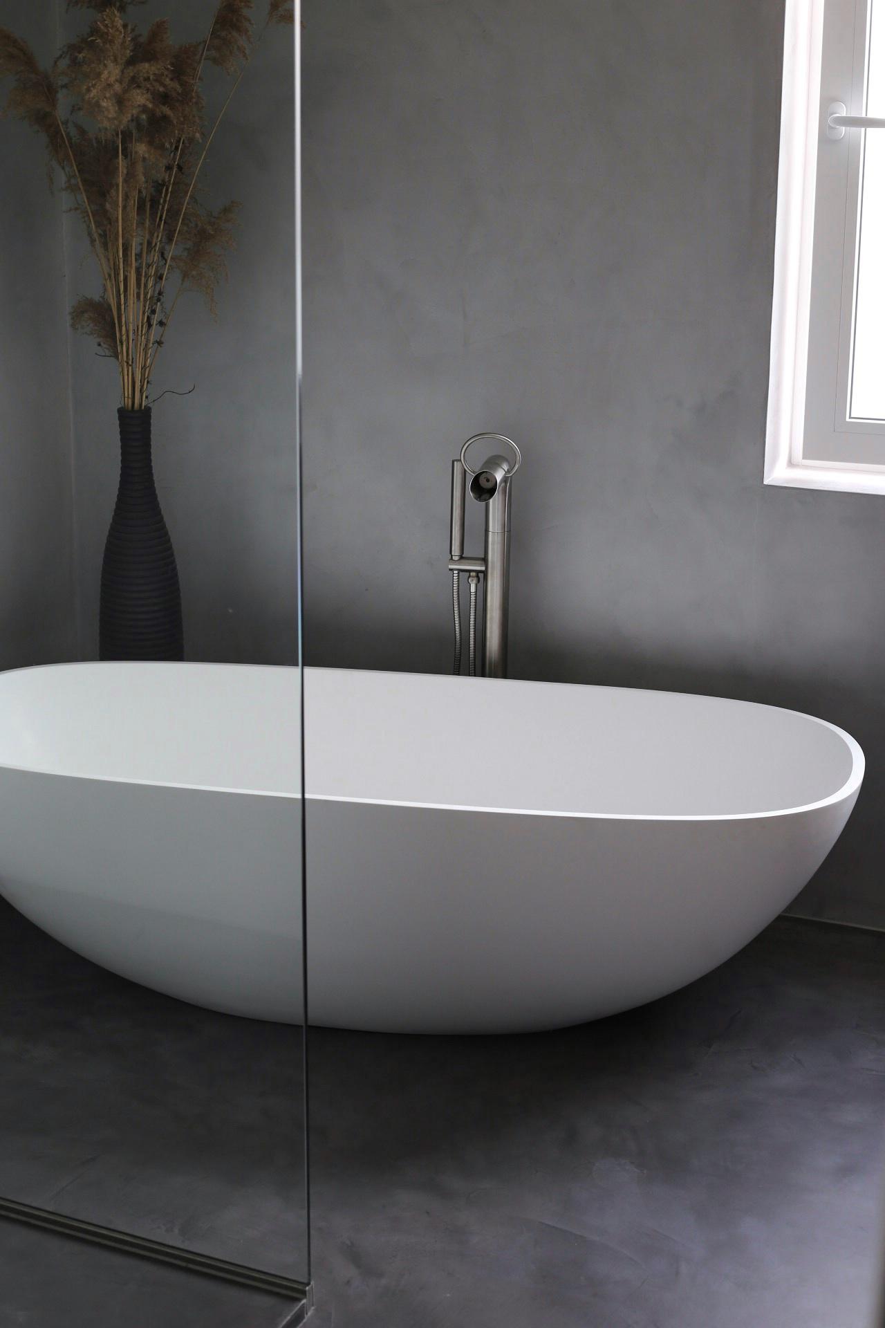 Beton-Cire Beton Optik Badezimmer Beton Style Betonoptik Sanierung Hausbau bauen Betonstyle badsanierung bad